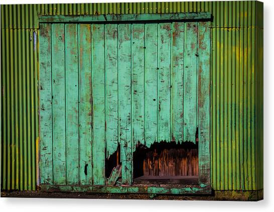 Warehouses Canvas Print - Green Warehouse Door by Garry Gay