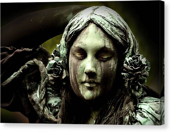 Green Woman A Portrait Canvas Print