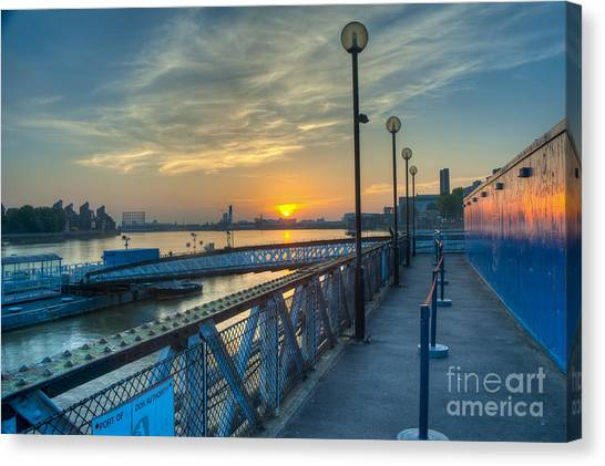 City Sunrises Canvas Print - Greenwich Pier Sunrise by Donald Davis