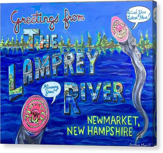 Greetings From The Lamprey River Canvas Print