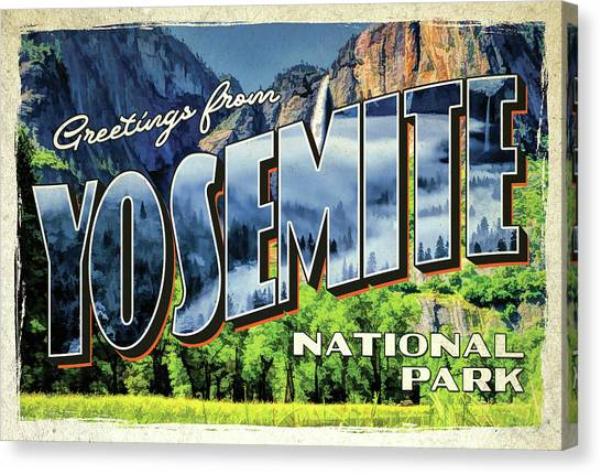 Canvas Print featuring the painting Greetings From Yosemite National Park by Christopher Arndt