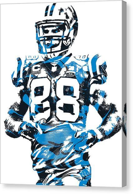 Carolina Panthers Canvas Print - Greg Olsen Carolina Panthers Pixel Art 5 by Joe Hamilton