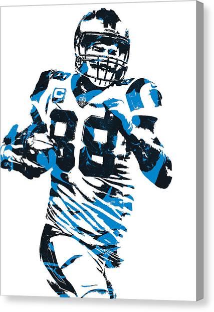 Carolina Panthers Canvas Print - Greg Olsen Carolina Panthers Pixel Art 6 by Joe Hamilton