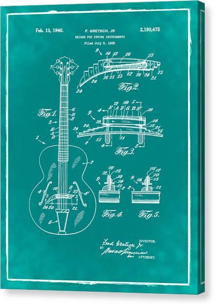 Slide Guitars Canvas Print - Gretsch Guitar Bridge Patent 1940 Green by Bill Cannon