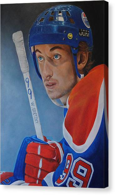 Gordie Howe Canvas Print - Wayne Gretzky by David Dunne