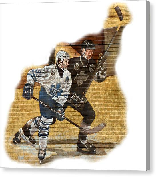 Edmonton Oilers Canvas Print - Gretzky And Gilmour by Andrew Fare