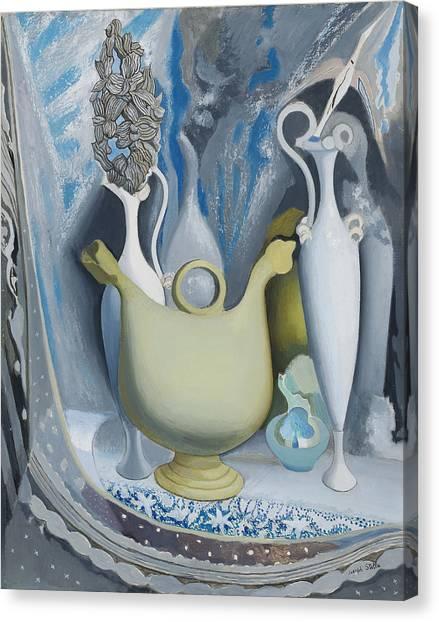 Precisionism Canvas Print - Grey And Blue by Joseph Stella