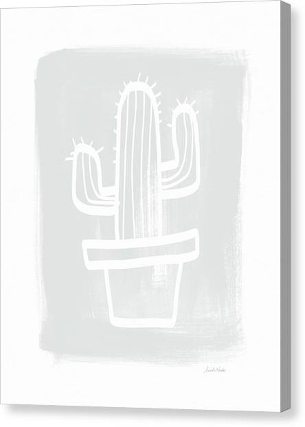 Cactus Canvas Print - Grey And White Cactus- Art By Linda Woods by Linda Woods