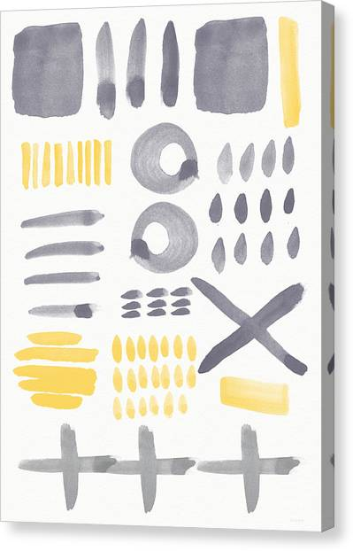 Shapes Canvas Print - Grey And Yellow Shapes- Abstract Painting by Linda Woods
