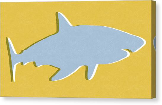 Sharks Canvas Print - Grey And Yellow Shark by Linda Woods