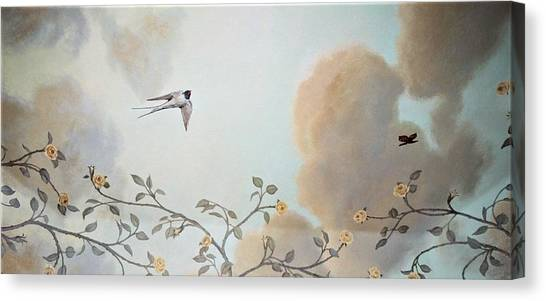 Grey Cloudy Flight By Dove Canvas Print
