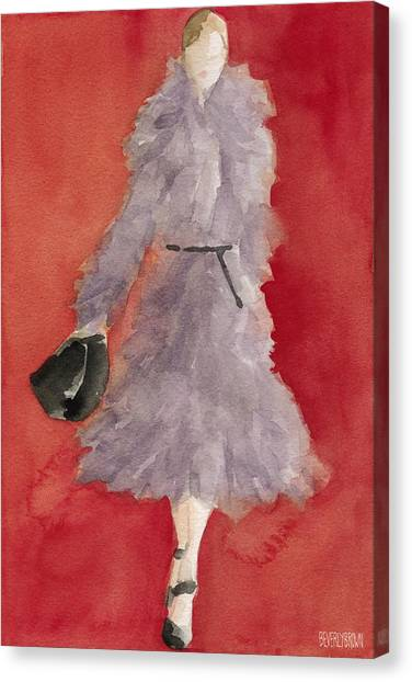 Eclectic Canvas Print - Grey Coat - Watercolor Fashion Illustration by Beverly Brown Prints
