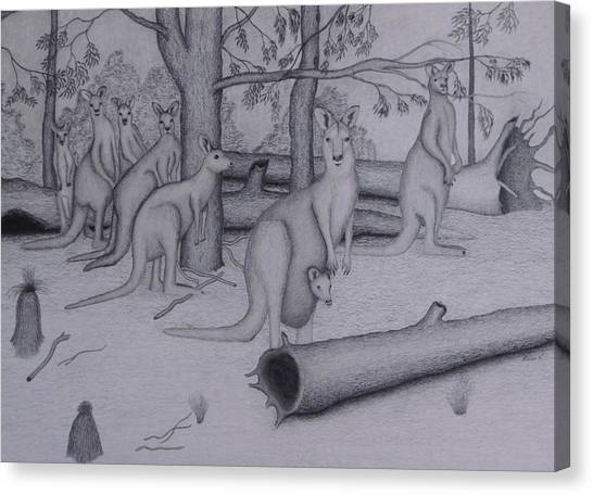Fineart Canvas Print - Grey Kangaroos by Brian Leverton