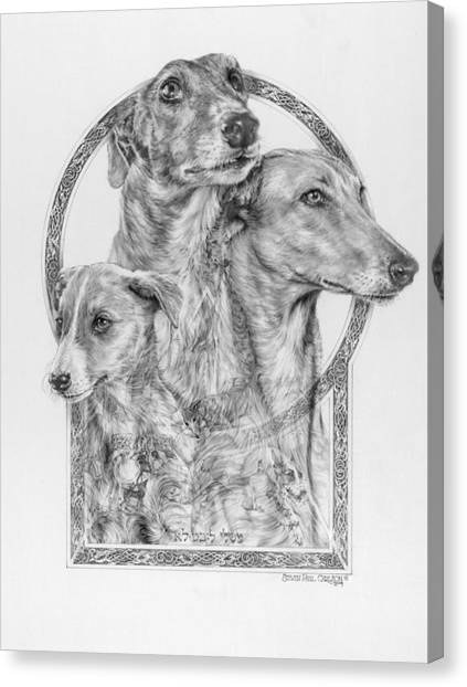 Sight Hound Canvas Print - Greyhound - The Ancient Breed Of Nobility - A Legendary Hidden Creation Series by Steven Paul Carlson