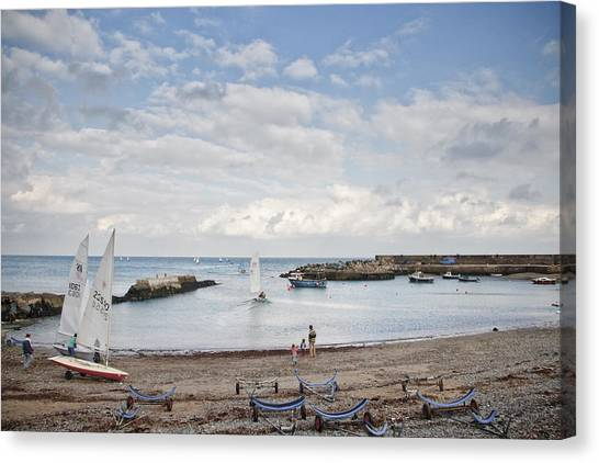 Greystones Harbour With Yachts Canvas Print by Gary Rowe