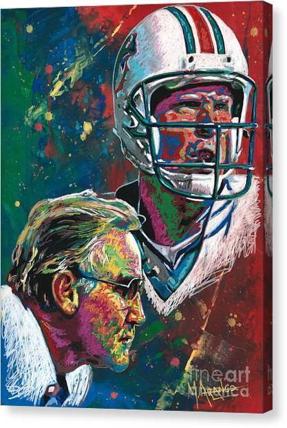 Dan Marino Canvas Print - Gridiron Legends by Maria Arango