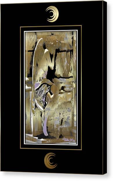 Grief Angel - Black Border Canvas Print