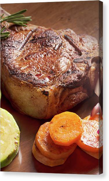 Ribeye Canvas Print - Grilled Meat With Vegetables And Rosemary by Vadim Goodwill