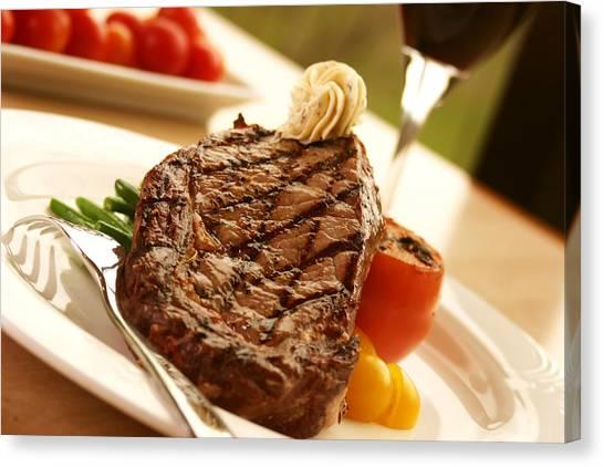 Ribeye Canvas Print - Grilled Steak by Vadim Pavlov