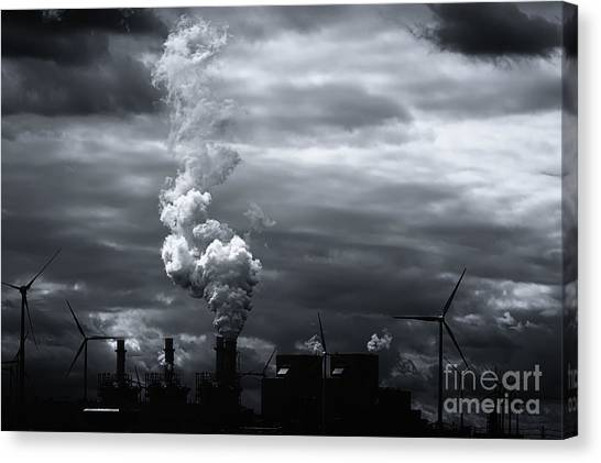 Grim Black White Energy Landscape Canvas Print