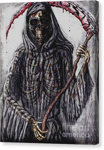 Grim Reaper Colored Canvas Print by Katie Alfonsi