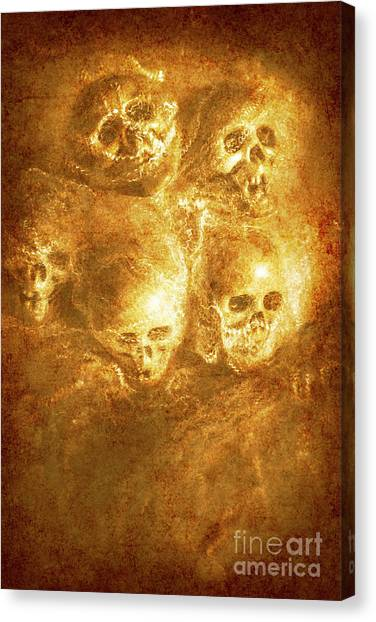 Horror Canvas Print - Grim Tales Of Burning Skulls by Jorgo Photography - Wall Art Gallery