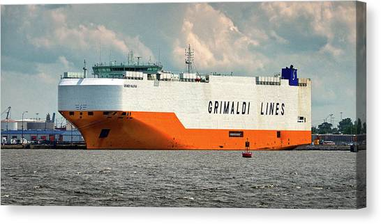 Canvas Print featuring the photograph Grimaldi Lines Grande Halifax 9784051 At Curtis Bay by Bill Swartwout Fine Art Photography