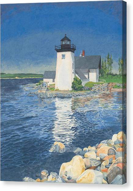 Canvas Print featuring the painting Grindle Point Light by Dominic White