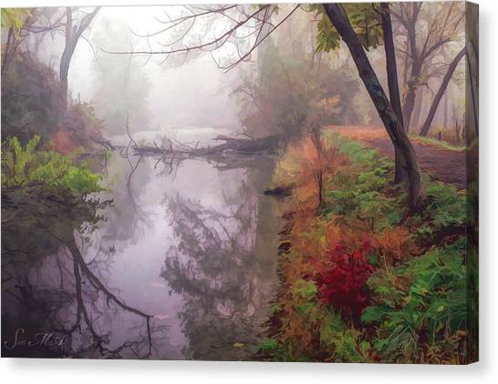 Grings Mill Fog 015 Canvas Print