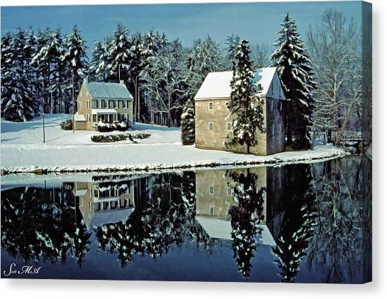 Grings Mill Snow 001 Canvas Print
