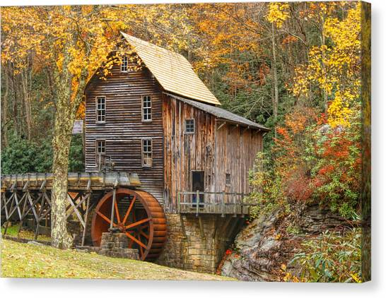 Grist Mill In Autumn Hues Canvas Print