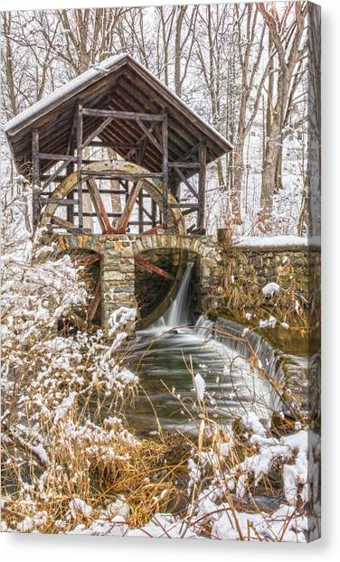 Grist Mill In Fresh Snow Canvas Print