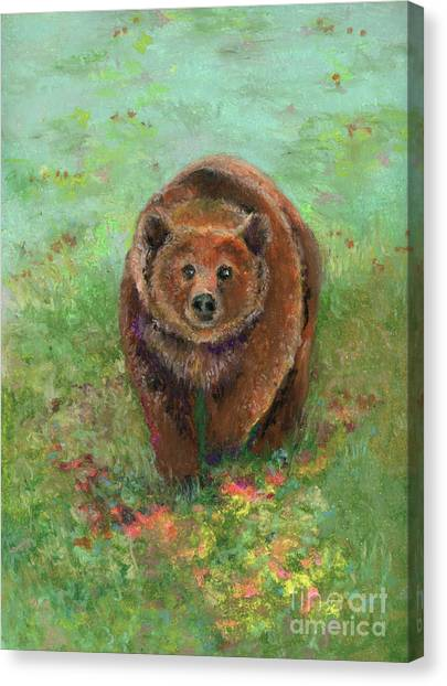 Canvas Print featuring the pastel Grizzly In The Meadow by Lauren Heller