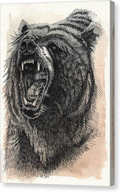 Canvas Print featuring the painting Grizzly by Nathan Rhoads
