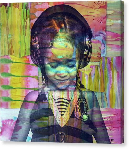 Headphones Canvas Print - Groove Girl by Dean Russo Art