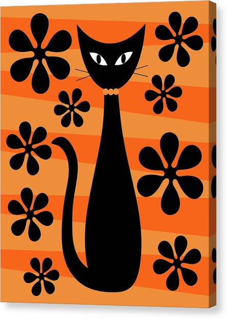 Groovy Flowers With Cat Orange And Light Orange Canvas Print