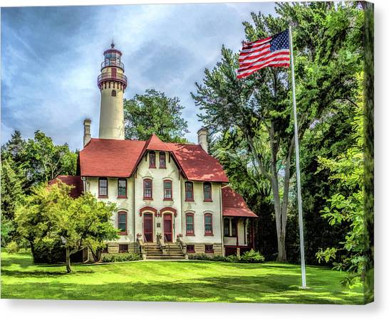 Canvas Print featuring the painting Grosse Point Lighthouse by Christopher Arndt