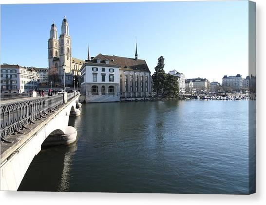 Travelpics Canvas Print - Grossmunster, Wasserkirche And Munsterbrucke - Zurich by Travel Pics