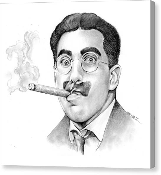 Glass Canvas Print - Groucho by Greg Joens