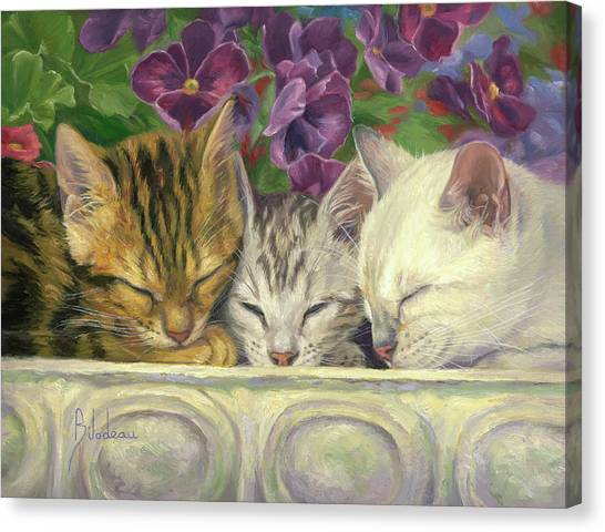 Kittens Canvas Print - Group Nap by Lucie Bilodeau