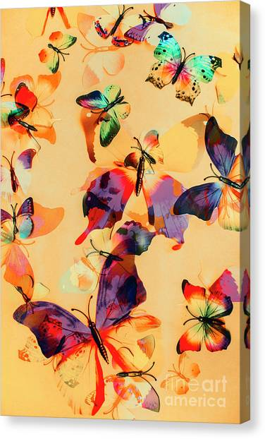 Yellow Butterfly Canvas Print - Group Of Butterflies With Colorful Wings by Jorgo Photography - Wall Art Gallery