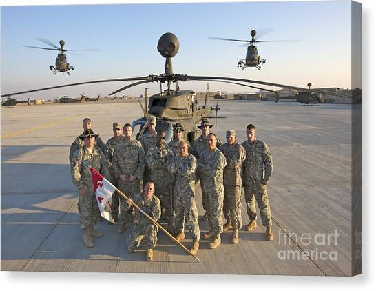 Helicopters Canvas Print - Group Photo Of U.s. Soldiers At Cob by Terry Moore