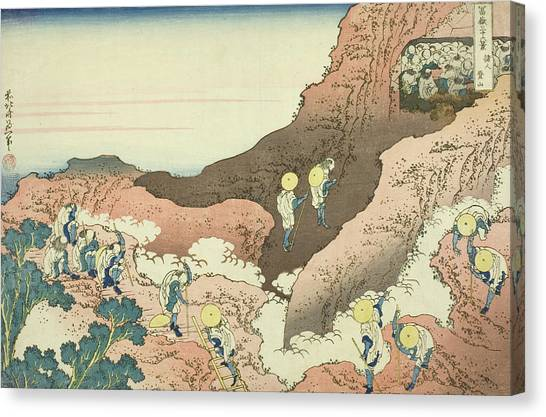 Mount Fuji Canvas Print - Groups Of Mountain Climbers by Hokusai