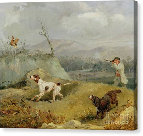 Shotguns Canvas Print - Grouse Shooting  by Henry Thomas Alken