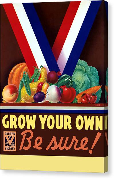 Vegetable Garden Canvas Print - Grow Your Own Victory Garden by War Is Hell Store