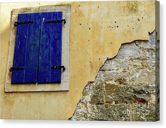 Groznjan Istrian Hill Town Stonework And Blue Shutters  - Istria, Croatia Canvas Print
