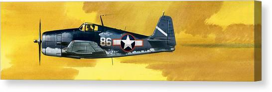 Airplanes Canvas Print - Grumman F6f-3 Hellcat by Wilf Hardy