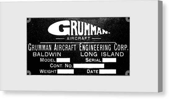Grumman Product Plate Canvas Print