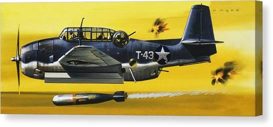 Bombs Canvas Print - Grummen Tbf1 Avenger Bomber by Wilf Hardy
