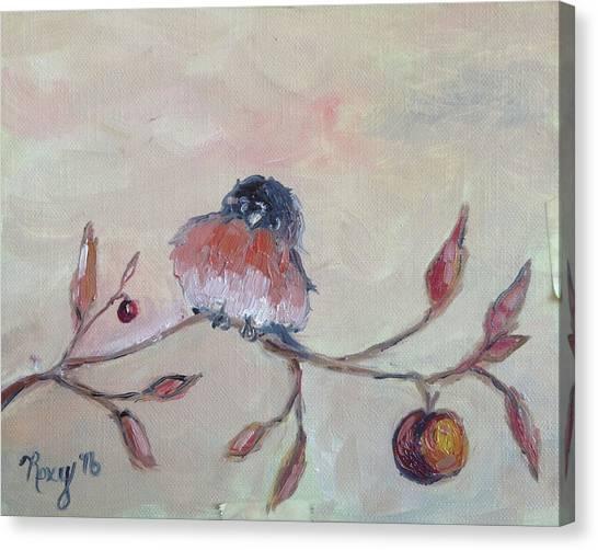 Apple Tree Canvas Print - Grumpy Blue Bird by Roxy Rich